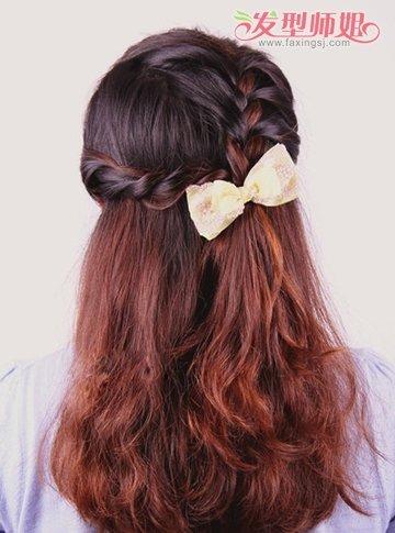 长头发简单扎法图解_中发女孩公主辫子发型扎法图解 女孩中长发简单发型扎法_发型师姐
