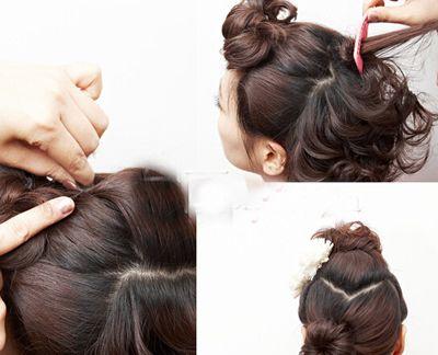 短发头发少怎么盘发 最新超短头发盘头图解(2)