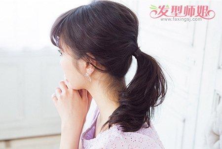 黑色齐刘海怎样扎头发好看 黑头发齐刘海的扎法(3)图片