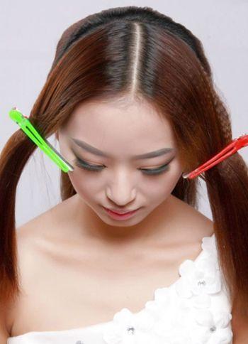 韩式新娘中长发中分编发盘发图解 长发新娘盘发图解图片