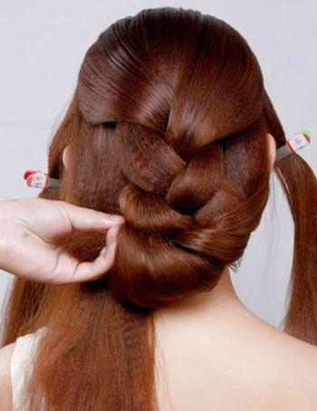 韩式新娘中长发中分编发盘发图解 长发新娘盘发图解(4图片