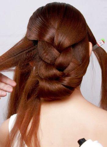 韩式新娘中长发中分编发盘发图解