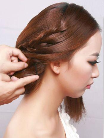韩式新娘中长发中分编发盘发图解 长发新娘盘发图解(8图片