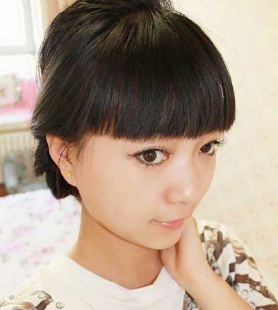 夏天怎么扎头发齐刘海直头发图解 齐刘海直发怎么扎头发好看(4)