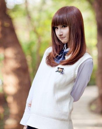 女生平刘海直发内扣梨花头发型-平刘海直头发怎么扎好看 平刘海中长