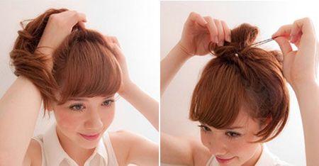 炎热的夏季女孩们都喜欢将长发盘成清凉的发髻, 丸子头 盘发就是非常图片