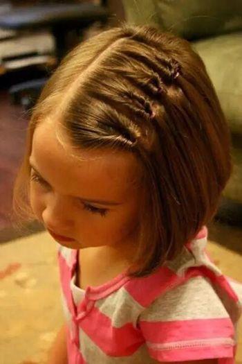 女童短发编发发型图片