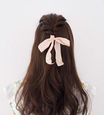 韩国长发发型简单的扎法 女生小清新半扎发型图解(4)图片