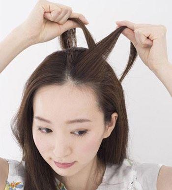韩国长发发型简单的扎法 女生小清新半扎发型图解图片