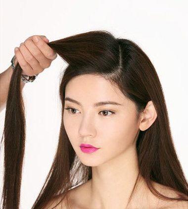 怎样编可以把刘海编到马尾辫里 马尾扎发发型图解图片