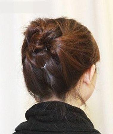 女孩短头发盘头图片 盘短头发的方法图片(3)