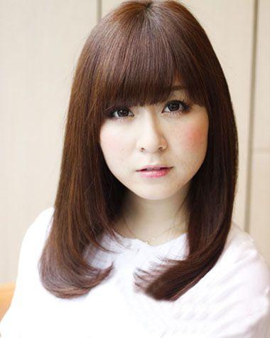 韩式斜刘海内扣齐肩发发型图片