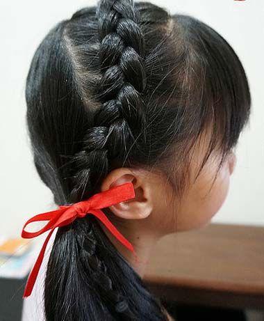 小女孩编辫子发型扎