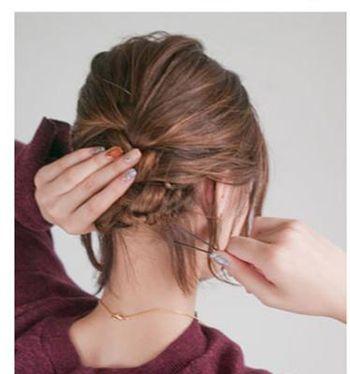 中短头发怎么盘好看 圆脸中短头发盘发(3)