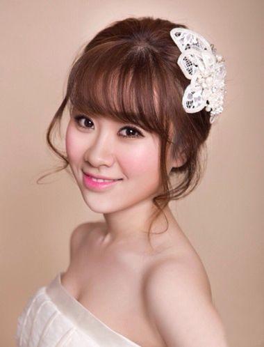 空气刘海新娘高盘发发型-齐刘海的卷发怎么盘好看 齐刘海怎样盘新娘图片