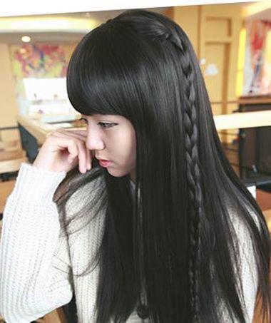 齐刘海黑长直编发发型图片