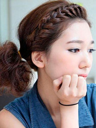 没有刘海简单学生短发怎么扎好看 没有刘海的马尾学生
