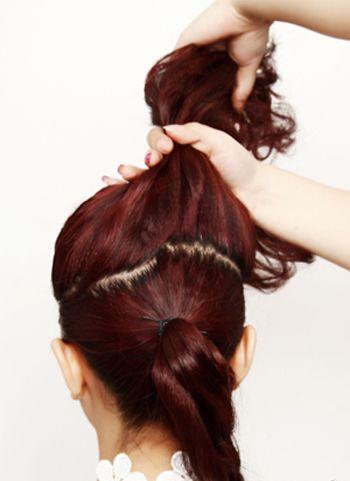 自己能扎盘的新娘发型 新娘盘发发型中长发韩式盘发图解图片