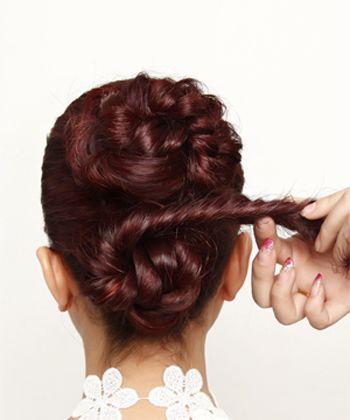 新娘盘发发型中长发韩式盘发图解图片