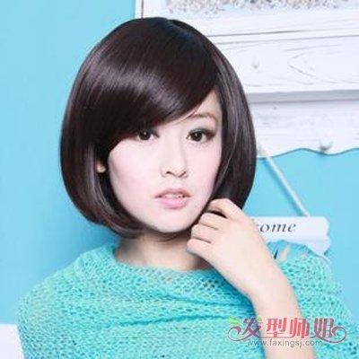 女生斜分长刘海梳发齐颈短直发图片