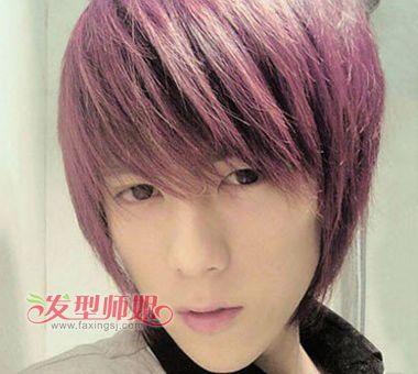 男生紫红色蓬松头发图片 紫红色头发男士 发型师姐图片
