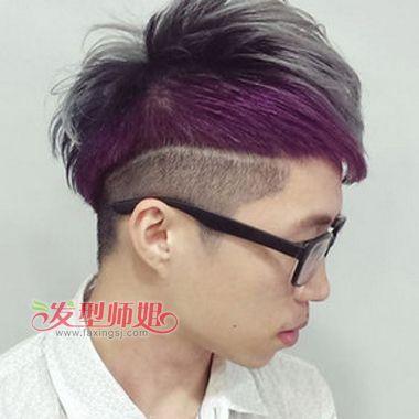 男生紫红色蓬松头发图片 紫红色头发男士(4)_发型师姐图片