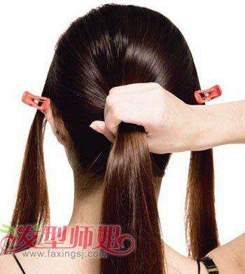 发型diy 长发扎发 >> 简约的直发发型扎法步骤 简单中长直发发型扎法图片