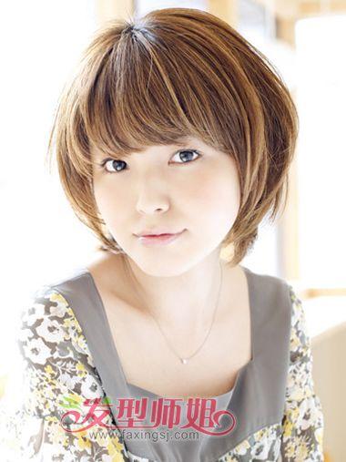 女生胖由字脸短发发型 较适合脸胖的发型照片图片
