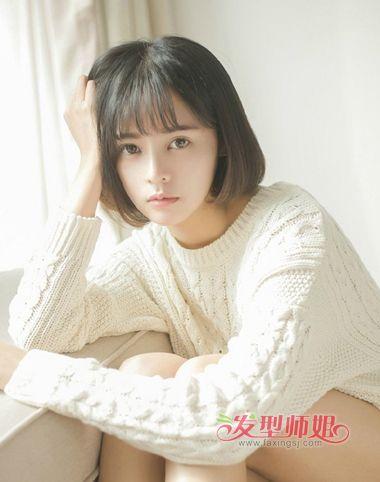 大学生空气刘海包脸齐肩发发型图片