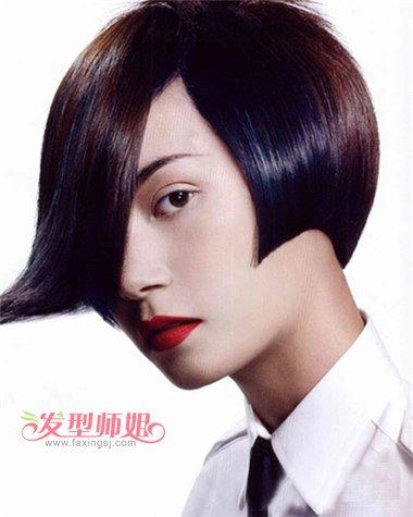 胖人齐刘海沙宣漂染短发发型