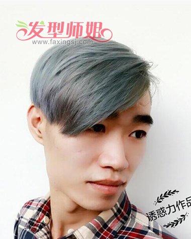 男生偏分墨绿色漂染短烫发发型-2016年男生流行什么颜色的头发 2016图片
