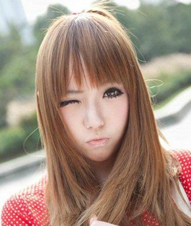 离子烫要比一般的直发发型,更加的朴实一些,窄额头齐 刘海发型,离子图片