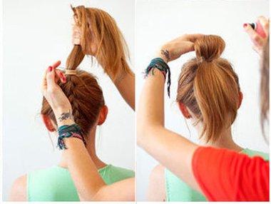 蝴蝶结发型直发怎么扎