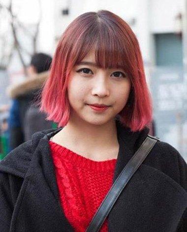 红色渐变色短发 韩国最新短发发型 发型师姐