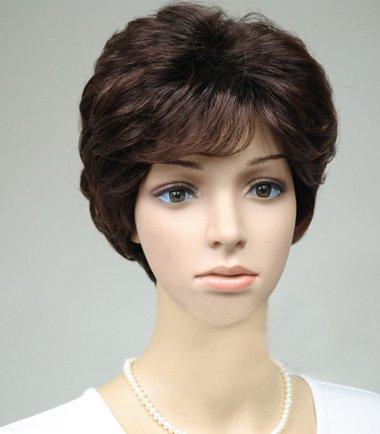 中老年后梳短假发发型图片