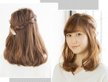 短发胖女生甜美半扎发发型图片