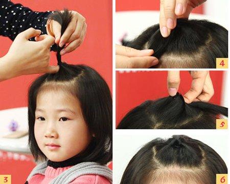 儿童短发扎辫子大全_超短发儿童扎辫子图片步骤 小孩超短发扎发_发型师姐