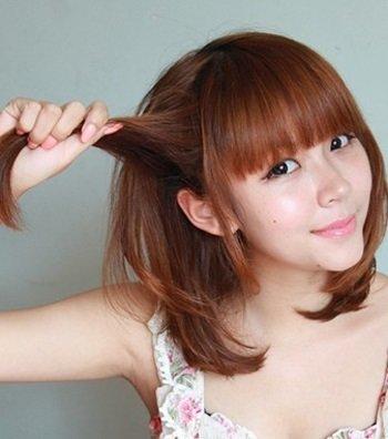 学生短头发怎么梳辫子 中学生短发扎头发图解图片