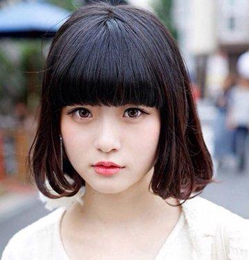 圆脸头发少的女生适合什么发型,如果偏留齐刘海,好不好呢图片