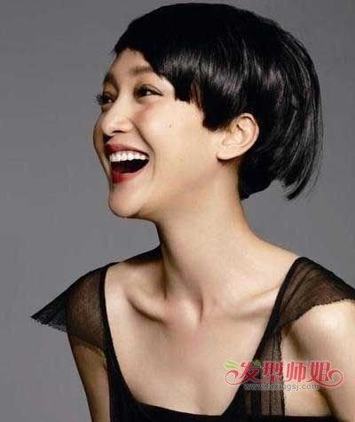 直发发型脖子短图片 90后女生直发短发发型