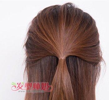 发型diy 长发扎发 >> 直发简单的扎头发方法 中长直发扎头发的图解