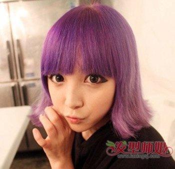紫眼睛粉橙头发手绘图