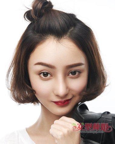 圆脸发少适合的短发发型 发量少短发适合什么颜色(3)图片