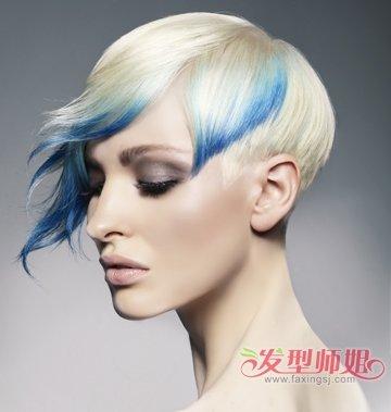 沙宣美发上经常用到,比如这款女生挑染斜刘海创意沙宣短发发型,就是图片