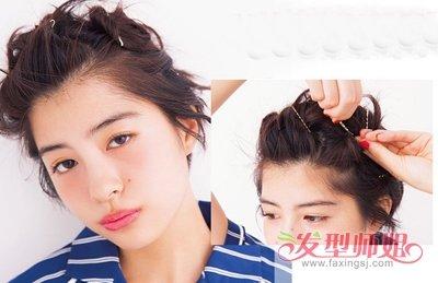随着 短发造型的狂热来袭,炎热的夏季短发扎发发型也变成了一种时尚图片