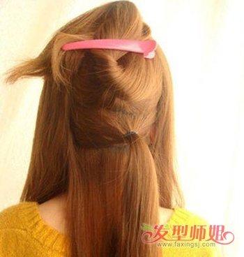 微卷的中长发怎么扎好看 微卷的中长发半盘发发型图解图片