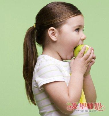 小女孩露额无刘海马尾辫梳发发型图片