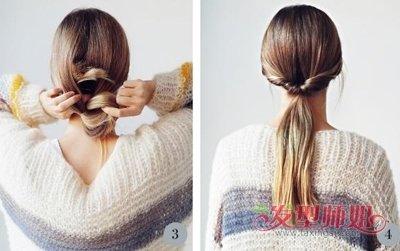 最简单中年女性中长发盘发发型 中年女士长发盘发过程图片