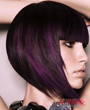 非主流女生齐刘海波波头短发发型图片