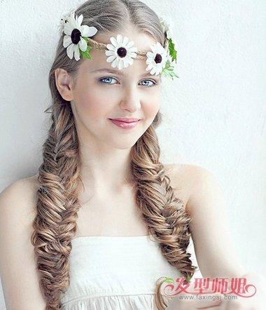 长头发扎两个辫子的发型图片 长头发如何扎辫子(3)图片